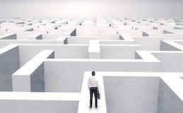 Kleine zakenman in een midden van een labyrint stock illustratie