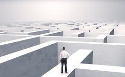Kleine zakenman in een midden van een labyrint stock foto's