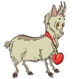 Kleine Ziege mit Herzen Lizenzfreie Abbildung