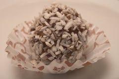 Kleine zoete decert, die met geraspte kokosnoot wordt behandeld Royalty-vrije Stock Afbeeldingen
