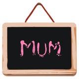 Kleine zwarte raad met woord mum Stock Foto