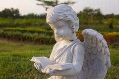 Kleiner Amorengel las ein Buch in einem Garten Lizenzfreies Stockfoto