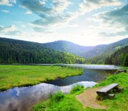Kleiner Arbersee湖在国家公园巴法力亚森林里,德国 免版税库存照片