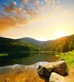 Kleiner Arbersee湖在国立公园巴法力亚森林里,德国 库存图片