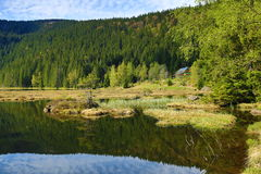 Kleiner Arbersee is a lake in Bayerischer Wald, Bavaria, Germany Stock Photos
