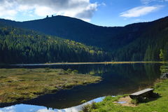 Kleiner Arbersee is a lake in Bayerischer Wald, Bavaria, Germany Royalty Free Stock Photography