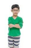 Kleiner asiatischer Junge trägt die Gläser, lokalisiert Lizenzfreies Stockbild