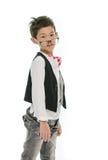 Kleiner asiatischer Junge trägt die Gläser, lokalisiert Stockfotografie