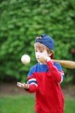 Kleiner Baseball-Spieler Stockbild