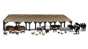 Kleiner Bauernhof mit Tieren auf einem weißen Hintergrund Lizenzfreie Stockbilder