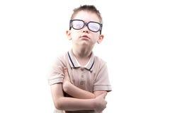 Kleiner blonder Junge in den Gläsern Stockbild