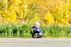 Kleiner blonder Junge, der einen Apfel auf dem Dock isst Herbst, sonnig Stockfotografie
