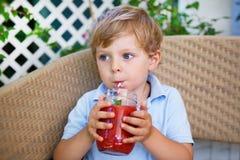 Kleiner blonder Junge, der gesunden Wassermelonensaft im Sommer trinkt Lizenzfreies Stockbild