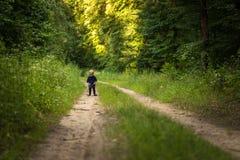 Kleiner blonder Junge, der im Wald spielt Stockfotografie