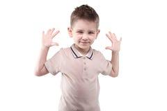 Kleiner blonder Junge mit den Händen oben Lizenzfreie Stockfotos