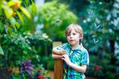 Kleiner blonder Vorschulkinderjunge, der Blumen und Schmetterlinge am botanischen Garten entdeckt Stockfoto