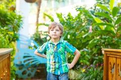 Kleiner blonder Vorschulkinderjunge, der Blumen und Schmetterlinge am botanischen Garten entdeckt Lizenzfreies Stockbild