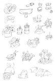 Kleiner Blumen- und Tiergegenstandzikadenschmetterling ein Frosch eine Spinne, Skizzen und Bleistiftskizzen und -gekritzel Stockbilder