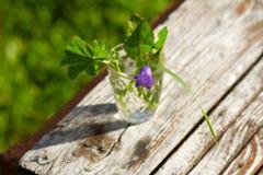 Kleiner Blumenstrauß mit Blättern eines Glockenblumegrüns Lizenzfreies Stockbild