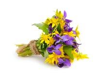 Kleiner Blumenstrauß mit Wiesenblumen. Stockfoto