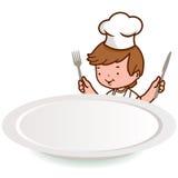 Kleiner Chefjunge, der über einer leeren Platte schaut. stock abbildung