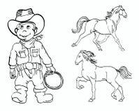 Kleiner Cowboy und Pferde Stockfotografie