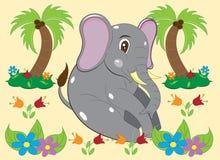 Kleiner Elefant in den Blumen lizenzfreie stockfotografie