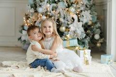 Kleiner entzückender Bruder und Schwester, die nahe einem Weihnachtsbaum sitzt stockfotos