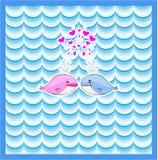 Kleiner erläuterter Wal mit Herzkartendesign Stockfotos