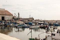 Kleiner Fischereihafen im alten Jaffa-Hafen, Mittelmeer Stockfotografie