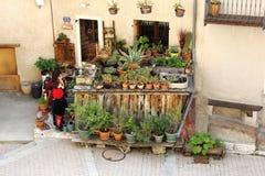 Kleiner Florist in der französischen Stadt von Briancon Stockfotografie