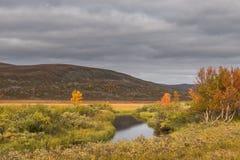 Kleiner Fluss an der Finnmark-Hochebene lizenzfreies stockbild