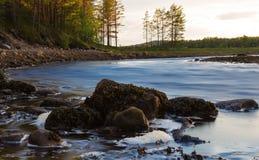 Kleiner Fluss mit dynamischem Wasser und Steine auf dem Vordergrund Lizenzfreie Stockfotografie