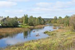 Kleiner Fluss mit Flusssteinen Stockbild