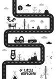 Kleiner Forscher - nette Hand gezeichnetes Kindertagesstättenplakat mit Straße, wilden Tieren und Auto Einfarbige Illustration stock abbildung