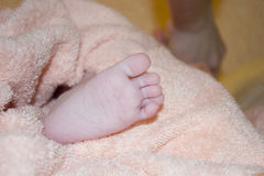 Kleiner Fuß in einem Tuch lizenzfreies stockfoto