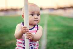 Kleiner Fußballspieler Stockfoto