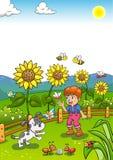 Kleiner Gärtner Boy mit Sonnenblume und seinem Hund Stockbilder