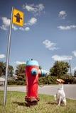 Kleiner glücklicher Hund und großer Hydrant Lizenzfreies Stockfoto