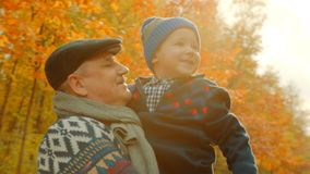 Kleiner glücklicher Junge und sein Großvater im Herbst parken stockfotografie