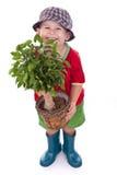 Kleiner Gärtnerjunge Stockbild