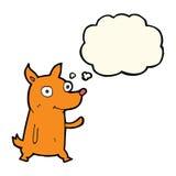 kleiner Hund der Karikatur, der mit Gedankenblase wellenartig bewegt Lizenzfreies Stockfoto