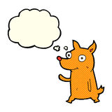 kleiner Hund der Karikatur, der mit Gedankenblase wellenartig bewegt Lizenzfreie Stockbilder