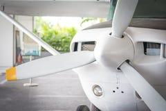 Kleiner Jet und Propeller Stockfoto