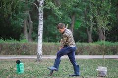 Kleiner Junge auf dem Feld mit einer großen Schaufel, welche die Kamera einen Baum pflanzend betrachtet Feenhaft Herbsttag stockbilder