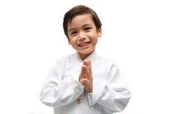 Kleiner Junge auf thailändischem Kostüm stockbilder