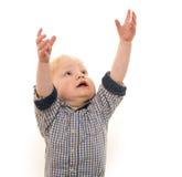 Kleiner Junge auf weißem Hintergrund Stockfotos