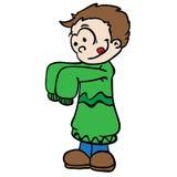 Kleiner Junge in den großen colthes Lizenzfreies Stockbild