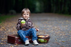 Kleiner Junge, der Äpfel isst Stockbild