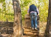 Kleiner Junge, der auf einem alten rustikalen Tor spielt Stockbild